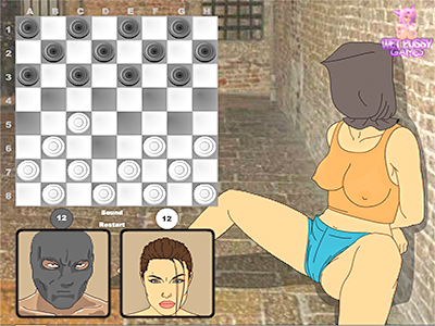 Only a game of checkers can save Angelina from shagging!
